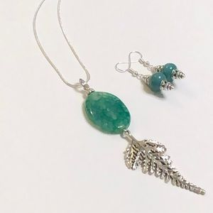 Green Agate Necklace & Green Agate Earrings Set
